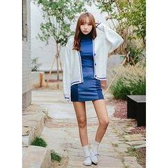 icecream12 - Two-Tone Denim Mini Skirt