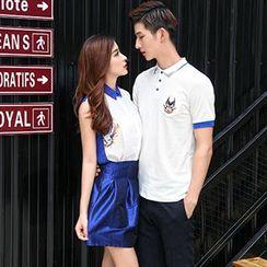 Azure - Couple Matching Cat Print Short Sleeve Polo T-Shirt / Set: Sleeveless Shirt + Mini Skirt