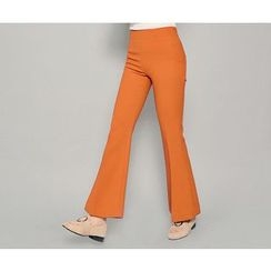 HOTPING - Flat-Front Boot-Cut Pants