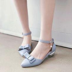 ZIMA - 蝴蝶结踝带尖头平跟鞋