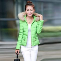 AiSun - Faux Fur Trim Padded Jacket