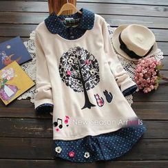 TBR - Inset Shirt Print Appliqué Top