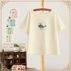 Vateddy - Whale Embroidered Short Sleeve T-Shirt