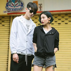 Evolu Fashion - Couple Matching Buttoned Hooded Jacket