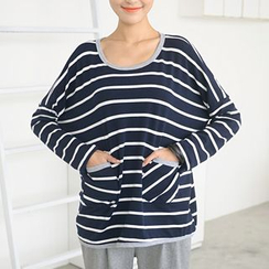 59 Seconds - Long-Sleeve Drop-Shoulder Striped Top