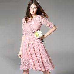 Y:Q - Elbow-Sleeved Lace A-Line Dress