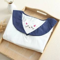 Vateddy - Cat Embroidered Short Sleeve Sailor Collar Blouse