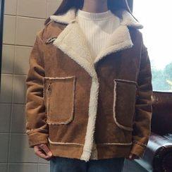 气质淑女 - 抓毛领麂皮外套