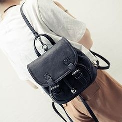 Hase Babe - Buckled Drawstring Faux Leather Backpack