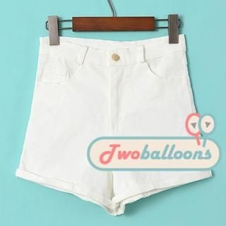JVL - High-Waist Cuffed Denim Shorts