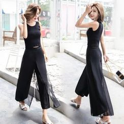 EFO - Set: Chiffon Tank Top + Wide-Leg Pants