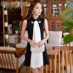 Dabuwawa - Sleeveless Bowed Paneled Dress