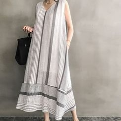 NANING9 - V-Neck Sleeveless Striped Long Dress