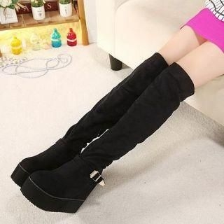 Mancienne - Platform Buckled Wedge Tall Boots