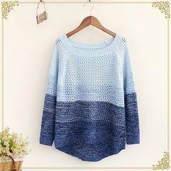 Fairyland - Open Knit Color Block Sweater