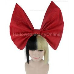 Party Wigs - Party Wig -  Sia Black & Blonde Wig Small Red Bow
