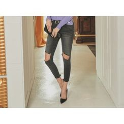 UUZONE - Cutout-Knee Washed Skinny Pants