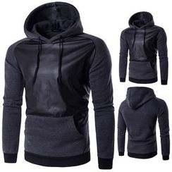 Blueforce - Faux Leather Panel Hoodie