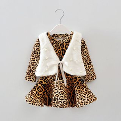 POMME - Kids Set: Leopard Print Long-Sleeve Dress + Embellished Furry Vest