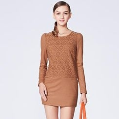 O.SA - Crochet-Panel Rhinestone Sheath Dress