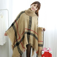 Dodostyle - Turtle-Neck Plaid Cape
