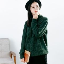 Forest Girl - Cable Knit Mock Neck Sweater