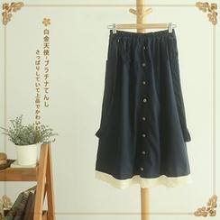 Softies - Buttoned Paneled Jumper Skirt