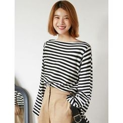 FROMBEGINNING - Boat-Neck Striped T-Shirt