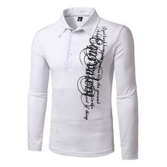 Fireon - Lettering Long-Sleeve Polo Shirt