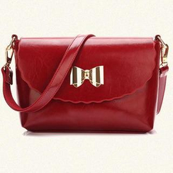 BeiBaoBao - Faux-Leather Bow-Accent Cross Bag