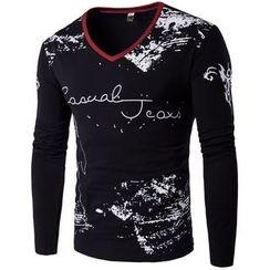 Fireon - Printed V-Neck Long-Sleeve T-Shirt