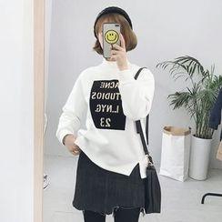 Visbee - Lettering Mock Neck Pullover