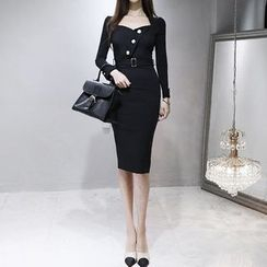 Aurora - Long-Sleeve Belted Buttoned Sheath Dress