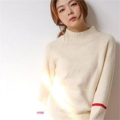 MAGJAY - Monk-Neck Contrast-Trim Knit Top