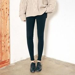 Seoul Fashion - Band-Waist Brushed-Fleece Pants