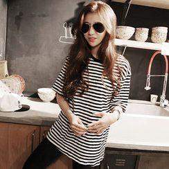 NANING9 - Short-Sleeve Striped T-Shirt