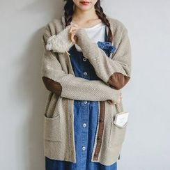 JUSTONE - Elbow-Patch Buttoned Wool Blend Cardigan