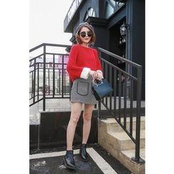 Ashlee - Set: Color Panel Sweater + Woolen A-Line Mini Skirt
