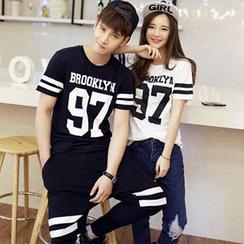 Azure - Couple Matching Number Print Short-Sleeve T-Shirt