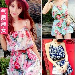 QZ Lady - Set: Cropped Floral Camisole + Shorts