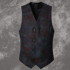 Mannmix - Camouflage Double-Breasted Vest