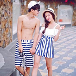 Little Dolphin - Women Striped Swimdress / Men Swim Shorts