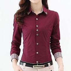 Caroe - Studded Collar Gingham-Lined Shirt.