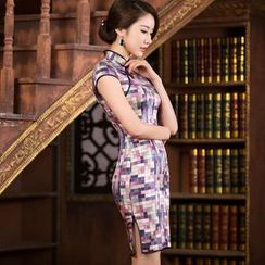 Miss Four Qipao - Cap-Sleeve Plaid Cheongsam