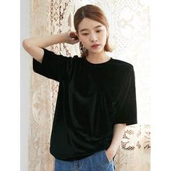 FROMBEGINNING - Short-Sleeve Velvet T-Shirt
