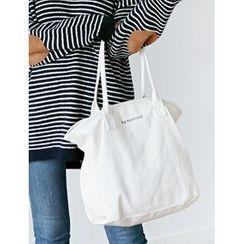 FROMBEGINNING - Lettering Canvas Shopper Bag