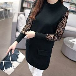 Autunno - Lace-Panel Pocket-Accent Long Knit Top
