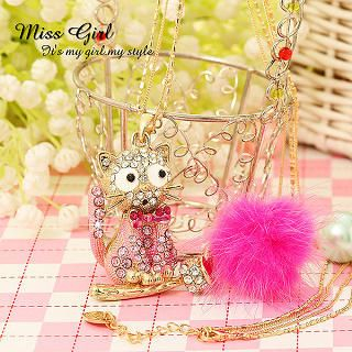 Miss Girl - Rhinestone Cat Necklace