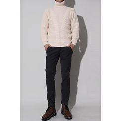 Ohkkage - Turtle-Neck Cable-Knit Sweater