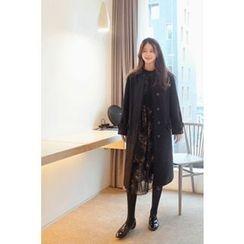 CHERRYKOKO - Hidden-Button Wool Blend Long Coat